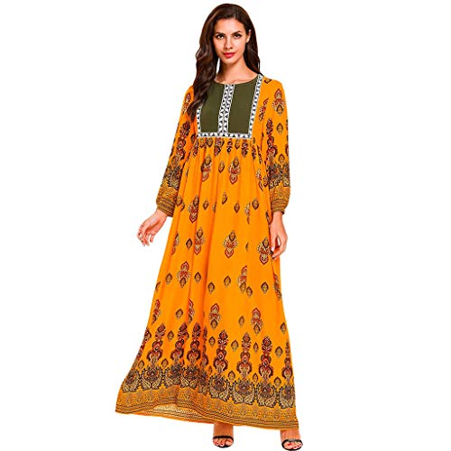 Muslim Dress for Women Ethnic Style Printed Dress Islamic Abaya Bell Sleeve Cocktail Maxi Dresses (L, Multicolor)