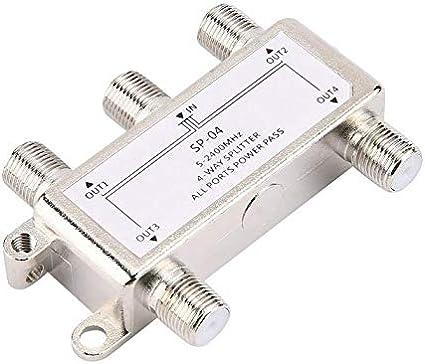 Distribuidor Divisor de 4 Canales, 4 Canales vía satélite/Antena/TV por Cable 5-2400MHz Tipo F SP-04 Carcasa de fundición de Zinc: Amazon.es: Electrónica
