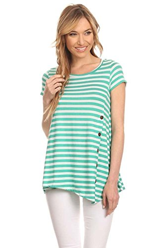Womens Stripe Print Button Tunic
