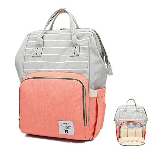 Baby Diaper Bag Backpack Multi-Functional Striped Travel Backpack Large Capacity Nappy Changing Bag for Daddy Mummy,Grey and Pink ()