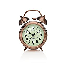 Peakeep 3 Small Twin Bell Alarm Clock with Backlight, Silent Non Ticking Quartz Movement, Battery Operated Loud Alarm Clocks for Heavy Sleepers (Red-Brown)