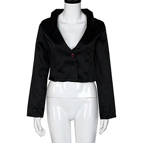 Tongshi Mujeres negocios traje chaqueta Blazer vendaje posterior delgado abrigo Casual Outwear Negro