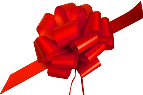 "Large Red Ribbon Pull Bows for Christmas Gifts - 9"" Wide, Set of 6"