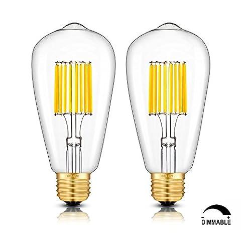 CRLight LED Edison Bulb 10W Dimmable 3000K Soft White 1000LM, 100W Equivalent E26 Medium Base, ST21(ST64) Vintage LED Filament Bulbs, 360 Degrees Beam Angle, Pack of (100watt Edison Light Bulbs)