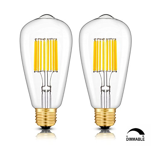 100w 130v A19 Medium Base (CRLight LED Edison Bulb 10W Dimmable 3000K Soft White 1000LM, 100W Equivalent E26 Medium Base, ST21(ST64) Vintage LED Filament Bulbs, 360 Degrees Beam Angle, Pack of 2)