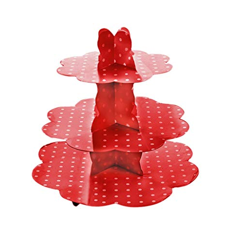 Fine 3-Tier Cardboard Cup Cake Holder Stand Dessert Tower, Reusable Pastry Serving Platter Food Display, Birthday Wedding Special Event Decoration (Red) (Finger Foods For A Party At Home)