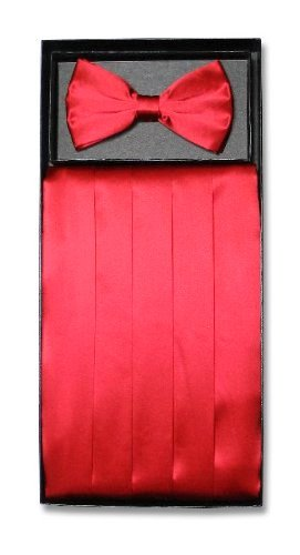 Cummerbund Set Red (SILK Cumberbund & BowTie Solid RED Color Men's Cummerbund Bow Tie Set)
