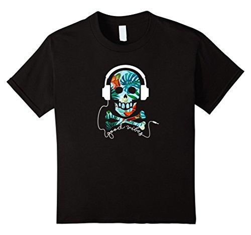 Price comparison product image Kids Good Vibes Funny Skull n Bones Headphones Hawaiian T-shirt 12 Black