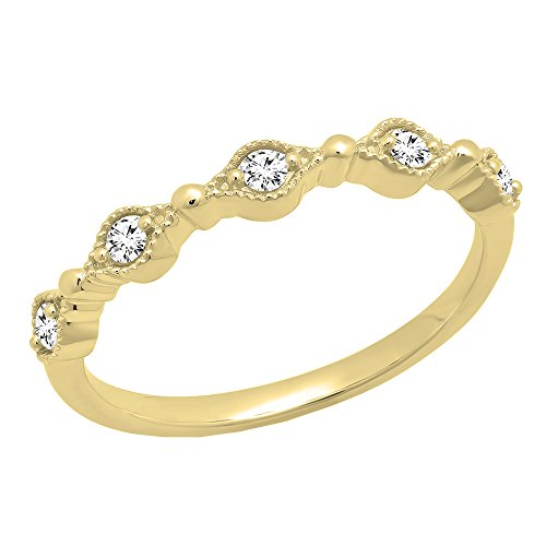 Dazzlingrock Collection 1/8 CT 10K Round Cut White Diamond Ladies Anniversary Wedding Stackable Band, Yellow Gold, Size 6 ()