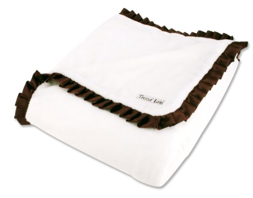 Trend Lab Velour Receiving Blanket with Satin Ruffle - Ruffle Satin Blanket