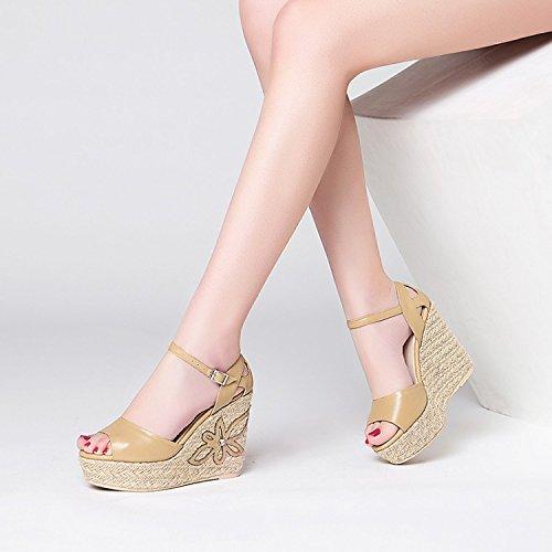 scarpe tavole tacchi impermeabile di Donna Moda Dita 34 sexy tacchi Da camel Alla alti 38 pendenza AJUNR 11cm Sandali q7wP8y0