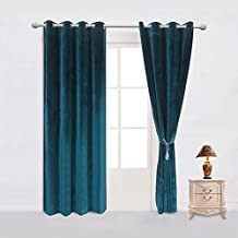 Sideli Set of 2 Luxury Velvet Room Darkening Blackout Grommet Curtain Panel Drapes Drapery with Tieback and Cushion Cover Theater| Bedroom| Living Room| Hotel (52Wx96L, Royalblue)