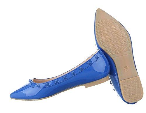 Damen Ballerinas Schuhe Lofers Espadrilles Pumps Blau