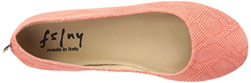 Toe Lizard Embross Closed French Zeppa Sole Womens Slide Coral Flats w8fIv