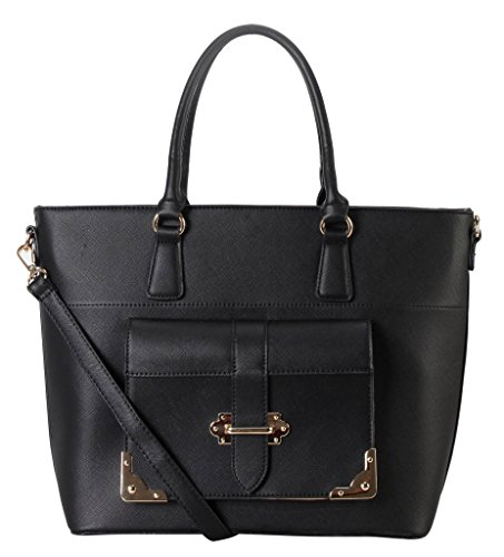 Accented Front Pocket Hobo (Diophy Saffiano PU Leather Front Buckle Pocket Tote Accented with Removable Strap Womens Purse Handbag PD-6167)