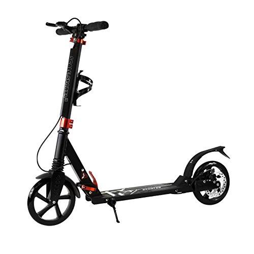 Adult Black Kick Scooter Portable Lightweight Adjustable Suspension Disc Hand (Big Wheel Brake)