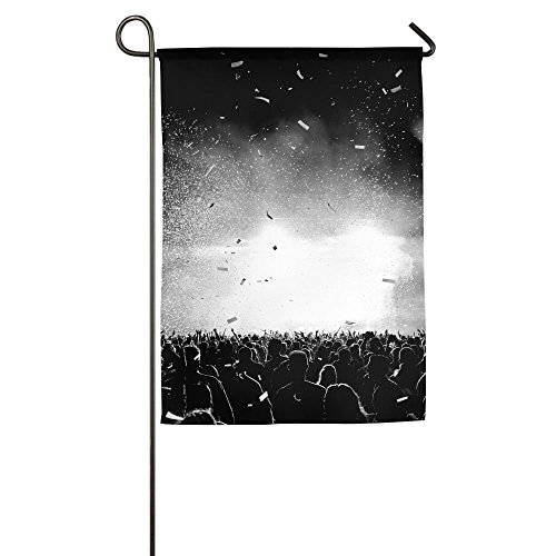Confetti Silhouette (EHAKB Davis Relev 12 x 18 inch Black And White Confetti Silhouette Crowd At A Music Festival Backlit Family Garden House Home Demonstration Competition Flag)