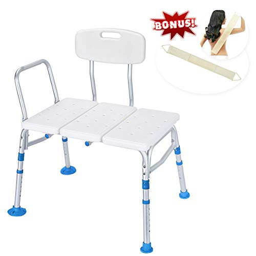 Health Line Tool-Free 400 lbs Transfer Bench, Deluxe Tub Adjustable Shower Bath Chair, w/Reversible Back and Non-Slip Feet, Great for Elderly, Disabled, Seniors & Bariatric - Free Loofah Back Scrubber by HEALTH LINE MASSAGE PRODUCTS