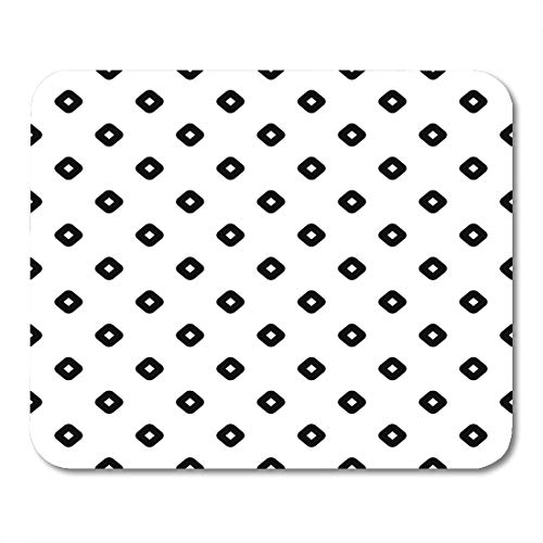 Hoop Diagonal (Boszina Mouse Pads Black Rhombuses Contours Pattern Design with Diamonds Checks Ethnic Mosaic Hoops and Loops Artwork White Mouse Pad for notebooks,Desktop Computers mats 9.5