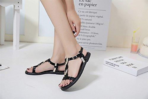 LIVY 2017 nuevas sandalias de verano cruz tejida sandalias de correa de la moda Negro