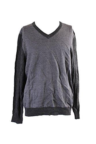 V-neck Herringbone Sweater (Club Room Merino Wool Herringbone Jacquard V-Neck Sweater, Ebony (Large))