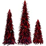 """Northlight Red and Black Feather Christmas Cone Trees, Set of 3, 30"""""""
