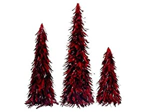 northlight red and black feather christmas cone trees set of 3 30 - Feather Christmas Trees