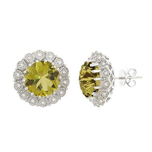 (925 Sterling Silver Brilliant Round Cut Lime Quartz & Diamond Halo Stud Earrings 11mm )