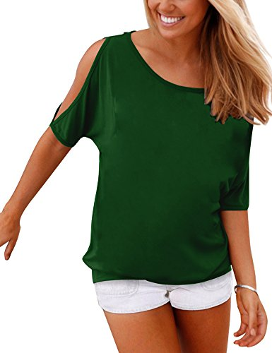 5051f80dc2e Haola Women s Summer Casual T Shirts Cold Shoulder Short Sleeve Blouse  Solid Cute Tops L DarkGreen