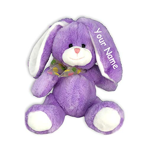 Fiesta Toys Personalized Purple Sitting Easter Bunny Big Belly and Colorful Jelly Bean Bow for Girls Plush Stuffed Animal Toy with Custom - Easter Bunny Personalized
