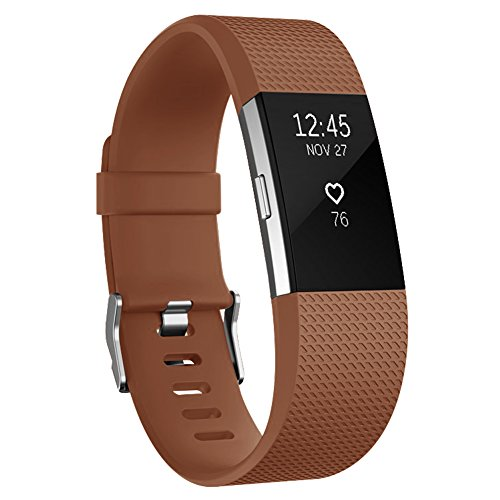 Fitbit Charge 2 Bands, AK Classic Edition Adjustable Comfortable Replacement Wristbands for Fitbit Charge 2 Heart Rate [No Tracker] (Brown, Large)