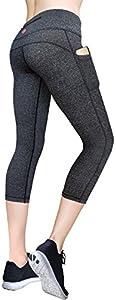 MYoga Women's Yoga Pants Workout Leggings Running Tights w Side Pockets (XS-XL)