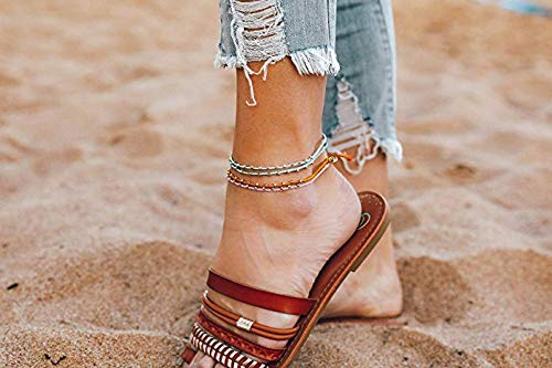 Adjustable Band Wax Coated String Pura Vida Gold Stitched Beaded Anklet in Tangerine or Seafoam