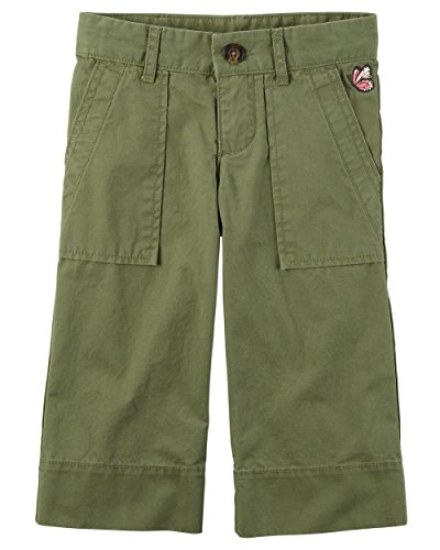 Carter's Little Girls' Embroidered Culotte Pants, Khaki Green, - Khaki Girls Embroidered Pants