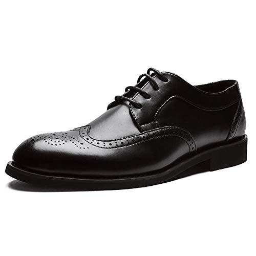 NBWE Scarpe da Uomo scolpite da Uomo Brock, Scarpe da Uomo d'Affari Nere con Cinturino e Cravatta Tonda 489 UK 7 8 Black
