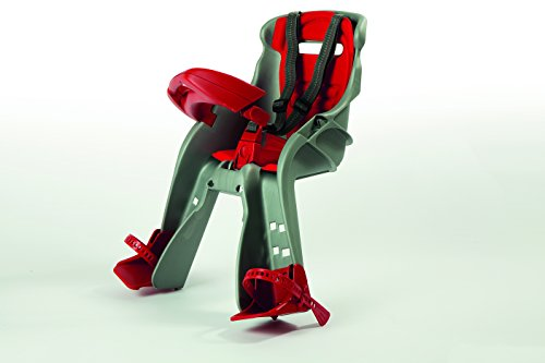 OKBABY Orion - Seggiolino Anteriore per Bambini, Sicurezza in Bicicletta dai 7/8 Mesi (15 kg) - Argento e Rosso 2 spesavip