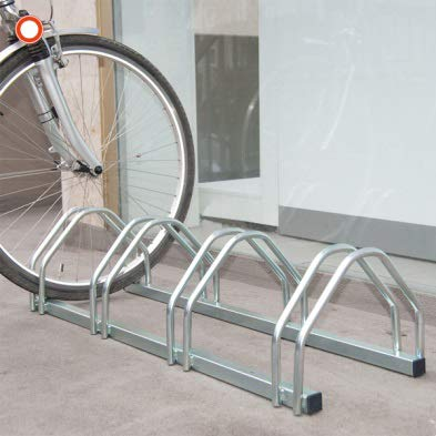Car Park - Bicycle Rack for 4 (HxWxD): 255x1025x330mm - Zinc Plated Steel iSigns