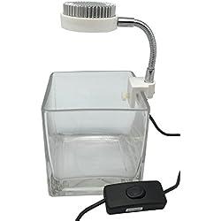 Zetlight Mini Plant/Betta/Fish Tank w/ 3W LED Aquarium Light USB Powered