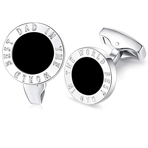 HONEY BEAR Round Cufflinks for Mens - Best Dad in The World,Stainless Steel, for Father's Day (Black) ()