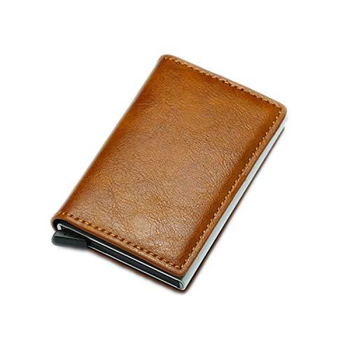 - Men Vintage Credit Card Holder Blocking Wallet Pu Leather Unisex Security Information Metal,Brown