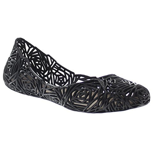 Glaze Women's Flat Heel Summer Beach Jelly Shoe Alaska-10 (Black 9.0) -