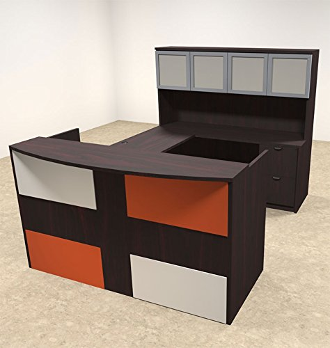 5pc U Shaped Modern Acrylic Panel Office Reception Desk, #OT-SUL-RM43 by UTM