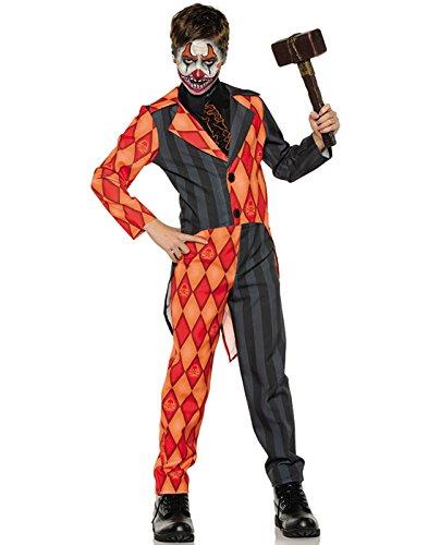Sinister Circus Costumes (Underwraps Big Boy's Boy's Evil Clown Tuxedo Costume, Large Childrens Costume, Multi, Large)