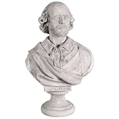 Design Toscano William Shakespeare Bust Statue, Grande, 31 Inch, Polyresin Fiberglass, Roman Stone