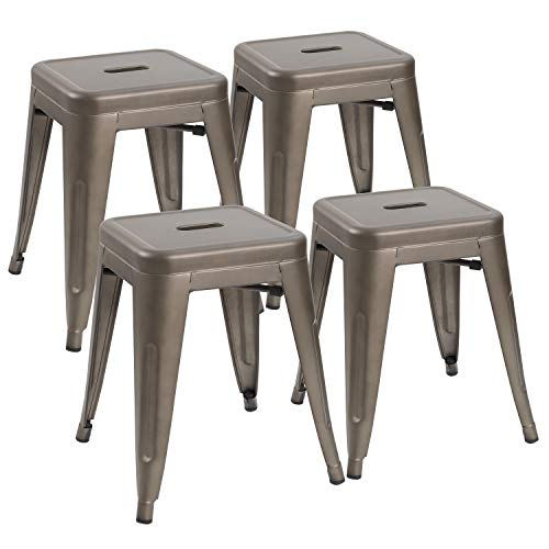 JUMMICO Metal Bar Stools Indoor-Outdoor Stackable Restaurant Stools 18inches Industrial Backless Barstools Set of 4 for Commercial Trattoria,Bistro (Gun)