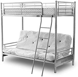 Alaska Futon Bunk Bed Silver Top Single Bottom Opens To Double Silver Bunk Bed 50mn Posts Bedroom Furniture Futon Bunk Bed With Bottom Futon Mattress Only Beige Amazon Co Uk Kitchen Home