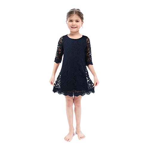 Lilytots Rustic Flower Girls Lace Vintage Wedding Party Dress With Sleeves (2T, Navy)