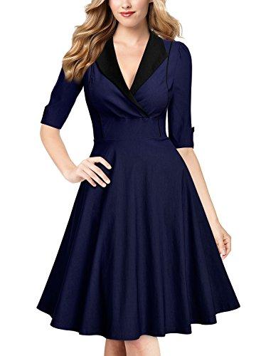 MissMay Women's Retro Large Lapel Neck Half Sleeve Elegant Swing Dress Navy Blue XX-Large
