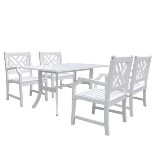 Vifah V1337SET2 Bradley Rectangular and Curved Leg Table and Armchair Outdoor Wood Dining Set (Curved Rectangular)