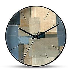 DAN&LAN Modern Abstract Art Wall Clock Metal Hanging Clock Non-Ticking Quiet Quartz Decoration Clock for Home Office (G, 12 Inch)